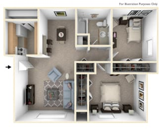 Classic Two Bedroom Floor Plan at Irish Hills Apartments, South Bend, 46614