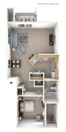 One Bedroom End Floor Plan at Liberty Mills Apartments, Fort Wayne