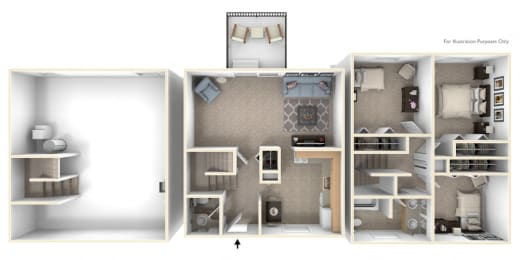Three-Bedroom Townhome Floor Plan at Mount Royal Townhomes, Michigan, 49009