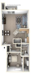 One Bedroom End Floorplan at North Pointe Apartments, Indiana, 46514