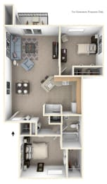 Two Bedroom, One Bath Floorplan at North Pointe Apartments, Elkhart, IN