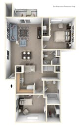 Two Bedroom, Two Bath Floorplan at North Pointe Apartments, Elkhart, 46514