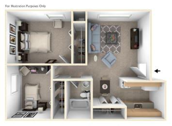 2 Bed 1 Bath Two Bedroom Floor Plan at Old Farm Apartments, Elkhart, 46517