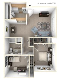 2 Bed 1 Bath Alpine Two Bedroom Floor Plan at Old Monterey Apartments, Springfield, MO