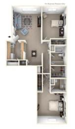 2 Bed 1 Bath Walk-thru Two Bedroom Floor Plan at Old Monterey Apartments, Springfield, MO