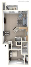 1 Bed 1 Bath One Bedroom End Floor Plan at Pine Knoll Apartments, Michigan
