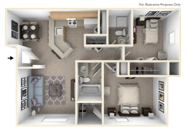 2 Bed 2 Bath Two Bedroom, One & One-half Bath Seville Floor Plan at South Bridge Apartments, Fort Wayne, IN, 46816