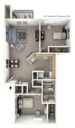 2 Bed 1 Bath Two Bedroom, One Bath Stackable Floor Plan at South Bridge Apartments, Fort Wayne, IN
