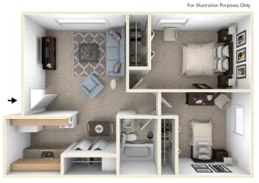 Two Bedroom Floor Plan at Waverly Park Apartments, Lansing