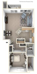 One Bedroom End Floor Plan at West Hampton Park Apartment Homes, Elkhorn, NE, 68022