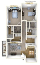 Two Bedroom Spruce Floor Plan at Thornridge Apartments, Grand Blanc, MI
