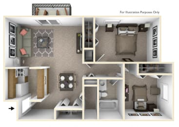 2-Bed/1-Bath, Iris View Floor Plan at Eastgate Woods Apartments, Batavia, Ohio