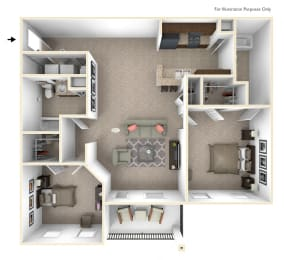 2-Bed/2-Bath, Bradley Floor Plan at Irene Woods Apartments, Tennessee