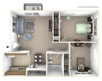 2-Bed/1-Bath, Marigold Floor Plan at Lake in the Pines, Fayetteville, 28311