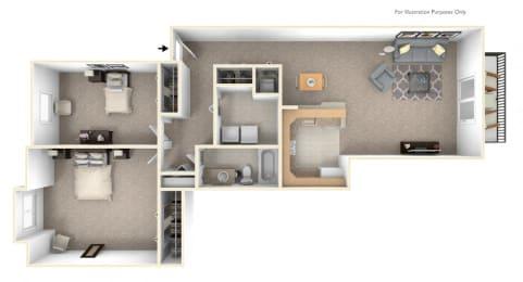 2-Bed/1-Bath, Petunia Floor Plan at LakePointe Apartments, Ohio, 45103