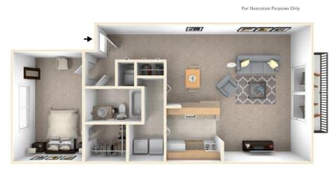 1-Bed/1-Bath, Senna Floor Plan at LakePointe Apartments, Batavia, Ohio