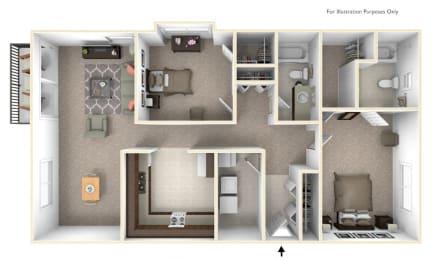 2-Bed/2-Bath, Watsonia Floor Plan at LakePointe Apartments, Batavia, Ohio