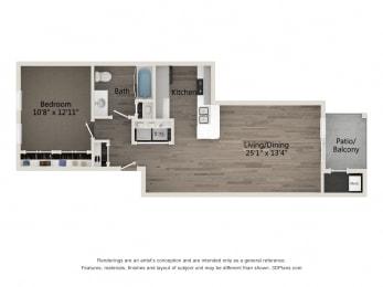 Elite 1 BR 1 BA Floor Plan at Emerald Creek Apartments, Greenville, SC 29607