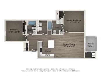 Luxury 2 BR 2 BA Floor Plan at Emerald Creek Apartments, SC 29607