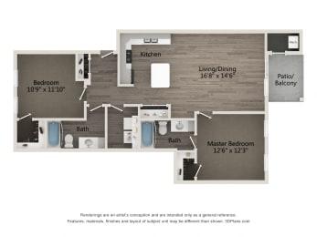 Prestige 2 BR 2 BA Floor Plan at Emerald Creek Apartments, Greenville