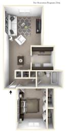 1-Bed/1-Bath, Mahonia Floor Plan at Stone Ridge, Wixom, MI, 48393