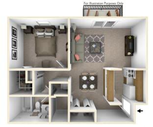 1-Bed/1-Bath, Orchid View Floor Plan at Stone Ridge, Wixom, MI