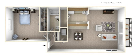 1-Bed/1-Bath, Verbena Floor Plan at Stone Ridge, Michigan, 48393