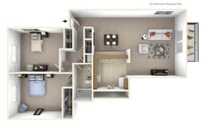 2-Bed/1-Bath, Violet Floor Plan at Stone Ridge, Wixom, MI