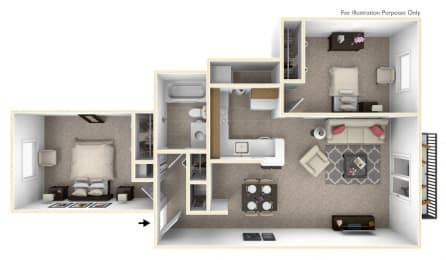 2-Bed/1-Bath, Gardenia Floor Plan at The Harbours Apartments, Clinton Twp