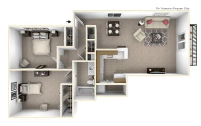 2-Bed/1-Bath, Lotus Floor Plan at The Harbours Apartments, Michigan