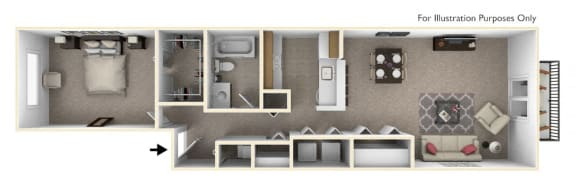 1-Bed/1-Bath, Peony Floor Plan at The Harbours Apartments, Clinton Twp, MI