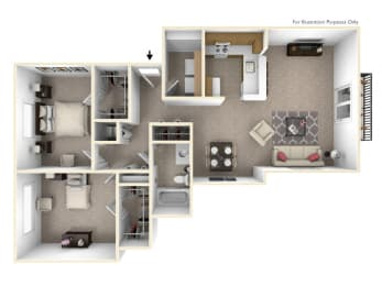 2-Bed/1-Bath, Wisteria Floor Plan at The Harbours Apartments, Clinton Twp, Michigan