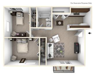 Marigold Floor Plan at The Village Apartments, Wixom, MI, 48393