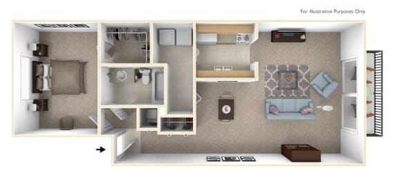 1-Bed/1-Bath, Baneberry Floor Plan at Timberlane Apartments, Peoria, 61614