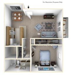 1-Bed/1-Bath, Bluebell Floor Plan at Windemere Apartments, Farmington Hills, MI, 48335