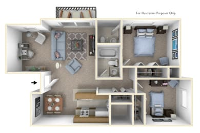 2-Bed/1.5 Bath, Snapdragon Deluxe Floor Plan at Windemere Apartments, Michigan, 48335
