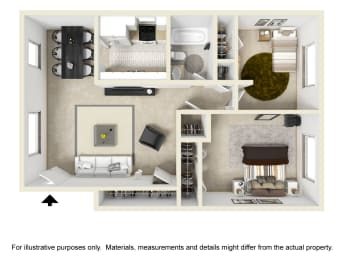 Two Bed One Bath Floor Plan at Country Club Apartments, Virginia, opens a dialog