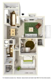 The Hemlock Floor Plan at Willow Ridge Apartments, Charlotte, opens a dialog