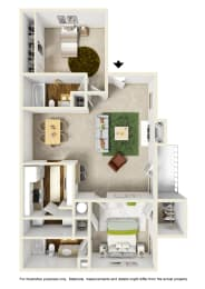 The Maple Floor Plan at Willow Ridge Apartments, North Carolina, 28210, opens a dialog
