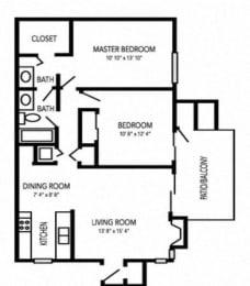 Bridgeport Floorplan at Waterfield Square Apartment Homes