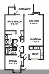 Portsmouth Floorplan at Waterfield Square Apartment Homes