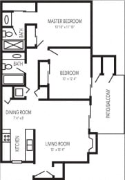Floor Plan at Waterfield Square Apartment Homes Stockton, CA, 95219
