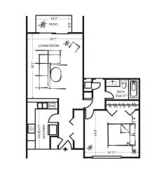 One Bedroom FloorPlan at Wilbur Oaks Apartments, Thousand Oaks, CA, 91360