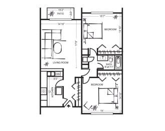 Two Bedroom Floorplan at Wilbur Oaks Apartments, Thousand Oaks, CA