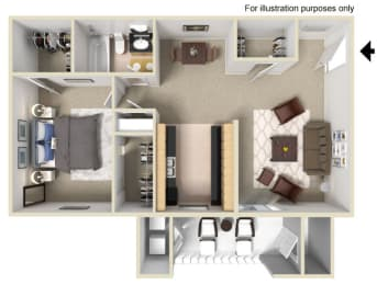 1 Bed 1 Bath Floor Plan at Vizcaya Hilltop Apartments, Reno, NV