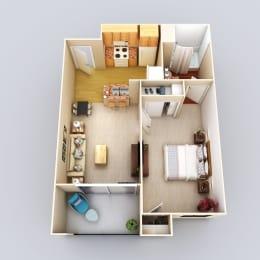 Antigua 1Bed 1Bath Floor Plan at 55+ FountainGlen Grand Isle, California, 92562