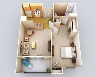 Bermuda 1Bath1Bed Floor Plan at 55+ FountainGlen Grand Isle, California