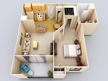 Cayman 1Bed1Bath Floor Plan at 55+ FountainGlen Grand Isle, California, 92562