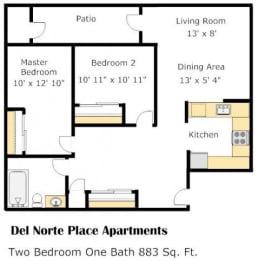 The Broadway 2 Bed 1 Bath Floorplan at Del Norte Place, El Cerrito, California, 94530