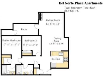 The Coaster 2 Bed 2 Bath Floorplan at Del Norte Place, El Cerrito, 94530